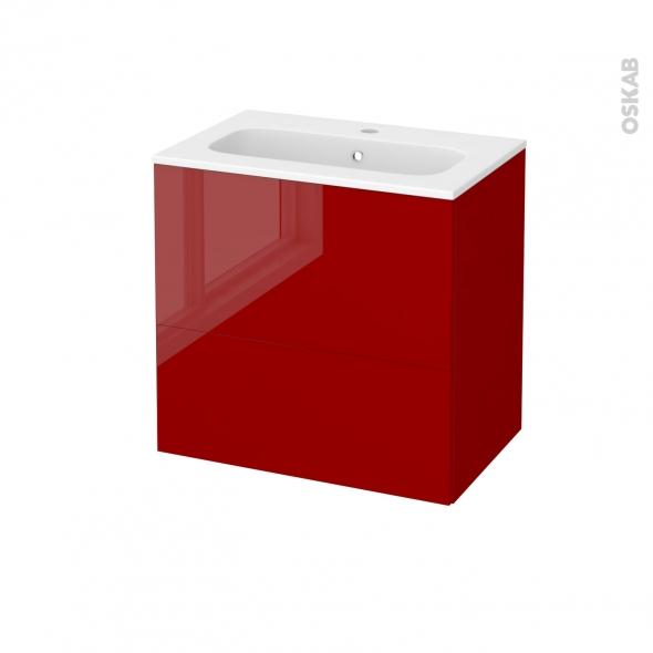 Meuble de salle de bains - Plan vasque REZO - STECIA Rouge - 2 tiroirs - Côtés décors - L60,5 x H58,5 x P40,5 cm