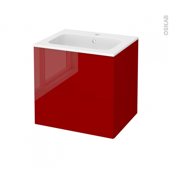 Meuble de salle de bains - Plan vasque REZO - STECIA Rouge - 2 tiroirs - Côtés décors - L60,5 x H58,5 x P50,5 cm