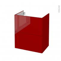 Meuble de salle de bains - Sous vasque - STECIA Rouge - 2 tiroirs - Côtés décors - L60 x H70 x P40 cm