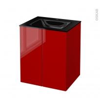 STECIA Rouge - Meuble salle de bains N°692 - Vasque OCCE - 2 portes  - L60,5xH71,2xP50,5