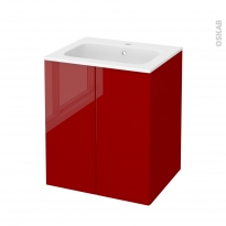Meuble de salle de bains - Plan vasque REZO - STECIA Rouge - 2 portes - Côtés décors - L60,5 x H71,5 x P50,5 cm