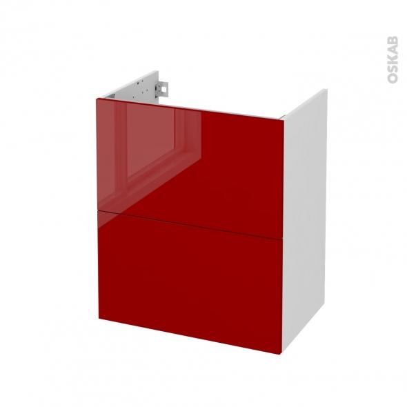 Meuble de salle de bains - Sous vasque - STECIA Rouge - 2 tiroirs - Côtés blancs - L60 x H70 x P40 cm