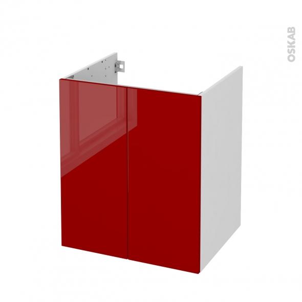Meuble de salle de bains - Sous vasque - STECIA Rouge - 2 portes - Côtés blancs - L60 x H70 x P50 cm