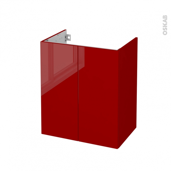 STECIA Rouge - Meuble sous vasque N°692 - Côté décor - 2 portes prof.40 - L60xH70xP40