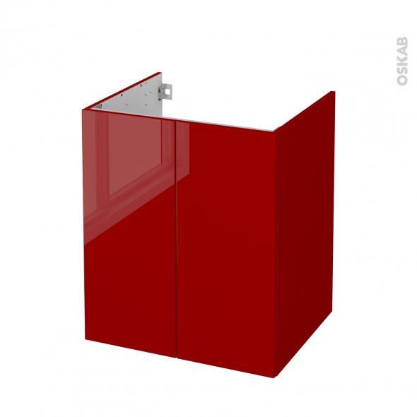 Meuble de salle de bains - Sous vasque - STECIA Rouge - 2 portes - Côtés décors - L60 x H70 x P50 cm