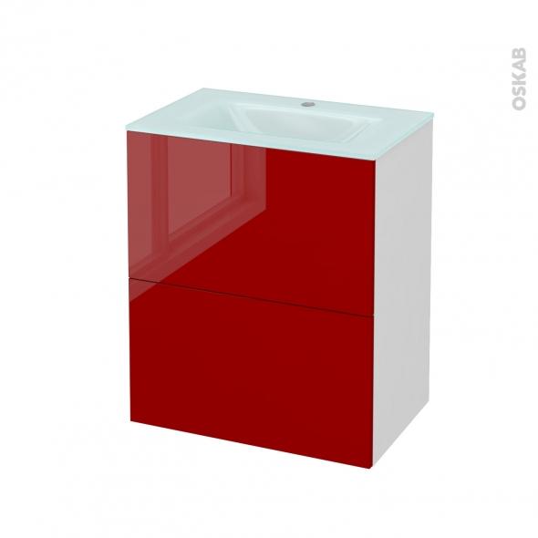 Meuble de salle de bains - Plan vasque EGEE - STECIA Rouge - 2 tiroirs - Côtés blancs - L60,5 x H71,2 x P40,5 cm