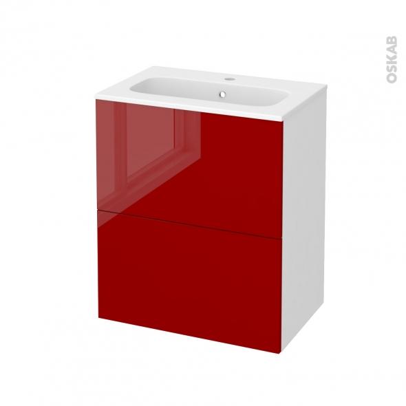 Meuble de salle de bains - Plan vasque REZO - STECIA Rouge - 2 tiroirs - Côtés blancs - L60,5 x H71,5 x P40,5 cm