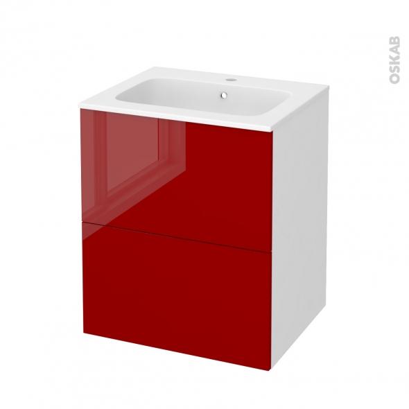 Meuble de salle de bains - Plan vasque REZO - STECIA Rouge - 2 tiroirs - Côtés blancs - L60,5 x H71,5 x P50,5 cm