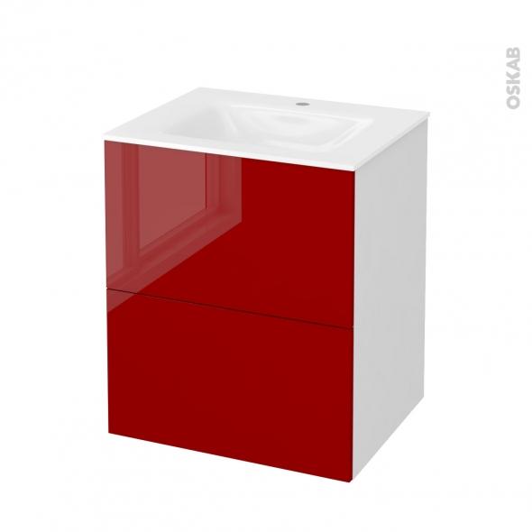 STECIA Rouge - Meuble salle de bains N°571 - Vasque VALA - 2 tiroirs  - L60,5xH71,2xP50,5