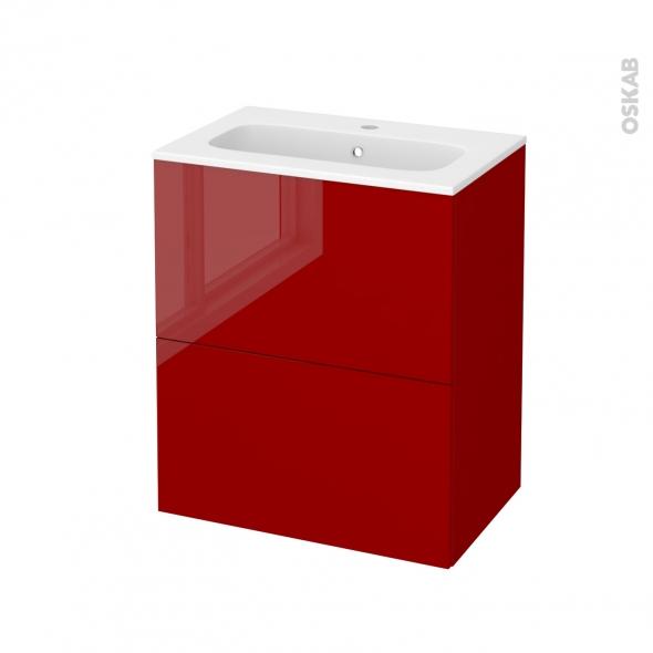 Meuble de salle de bains - Plan vasque REZO - STECIA Rouge - 2 tiroirs - Côtés décors - L60,5 x H71,5 x P40,5 cm