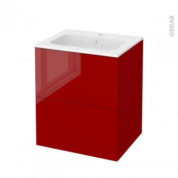 STECIA Rouge - Meuble salle de bains N°572 - Vasque REZO - 2 tiroirs  - L60,5xH71,5xP50,5