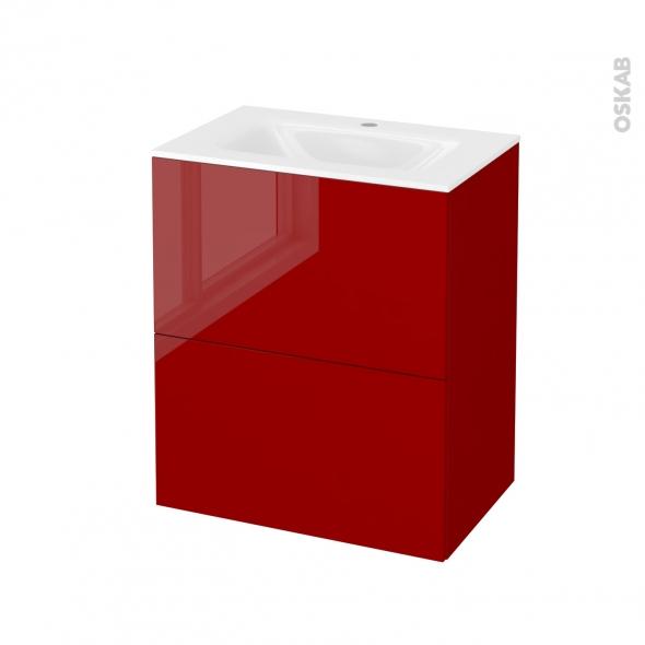 STECIA Rouge - Meuble salle de bains N°572 - Vasque VALA - 2 tiroirs Prof.40 - L60,5xH71,2xP40,5