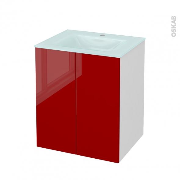 STECIA Rouge - Meuble salle de bains N°691 - Vasque EGEE - 2 portes  - L60,5xH71,2xP50,5