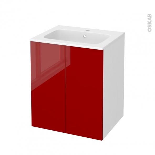 Meuble de salle de bains - Plan vasque REZO - STECIA Rouge - 2 portes - Côtés blancs - L60,5 x H71,5 x P50,5 cm