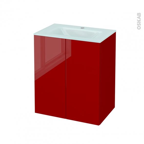 Meuble de salle de bains - Plan vasque EGEE - STECIA Rouge - 2 portes - Côtés décors - L60,5 x H71,2 x P40,5 cm