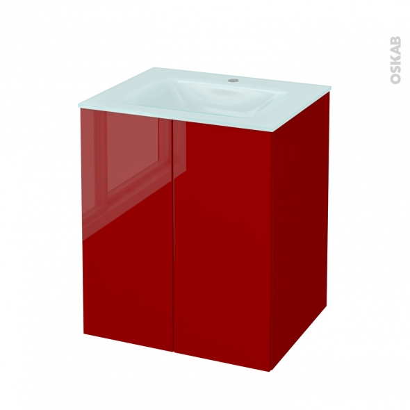Meuble de salle de bains - Plan vasque EGEE - STECIA Rouge - 2 portes - Côtés décors - L60,5 x H71,2 x P50,5 cm