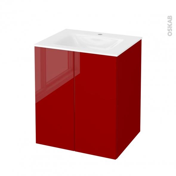 STECIA Rouge - Meuble salle de bains N°692 - Vasque VALA - 2 portes  - L60,5xH71,2xP50,5