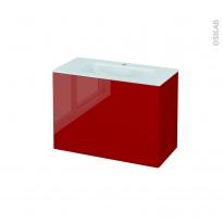 Meuble de salle de bains - Plan vasque EGEE - STECIA Rouge - 2 tiroirs - Côtés décors - L80,5 x H58,2 x P40,5 cm