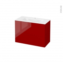 Meuble de salle de bains - Plan vasque VALA - STECIA Rouge - 2 tiroirs - Côtés décors - L80,5 x H58,2 x P40,5 cm