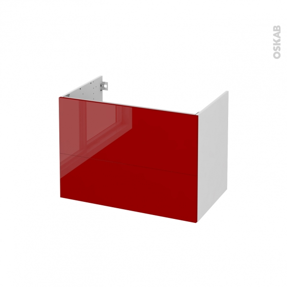 STECIA Rouge - Meuble sous vasque N°631 - Côté blanc - 2 tiroirs - L80xH57xP50