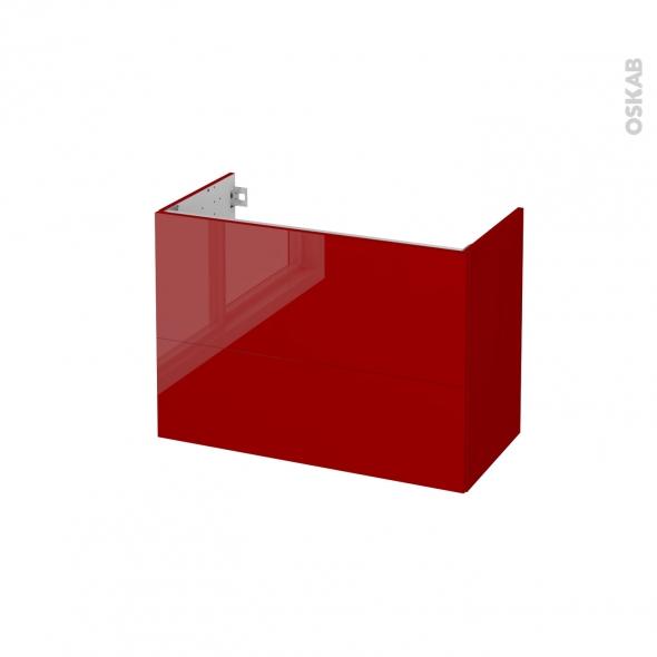 STECIA Rouge - Meuble sous vasque N°632 - Côté décor - 2 tiroirs prof.40 - L80xH57xP40