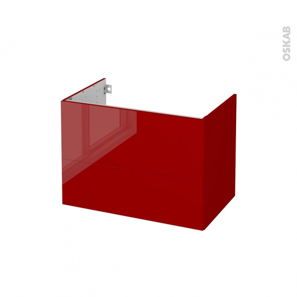 STECIA Rouge - Meuble sous vasque N°632 - Côté décor - 2 tiroirs - L80xH57xP50
