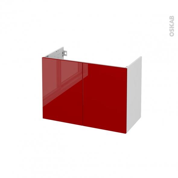 Meuble de salle de bains - Sous vasque - STECIA Rouge - 2 portes - Côtés blancs - L80 x H57 x P40 cm
