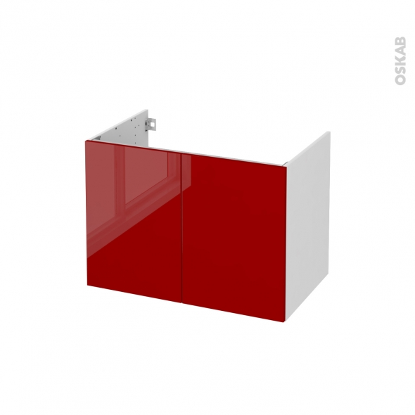 Meuble de salle de bains - Sous vasque - STECIA Rouge - 2 portes - Côtés blancs - L80 x H57 x P50 cm
