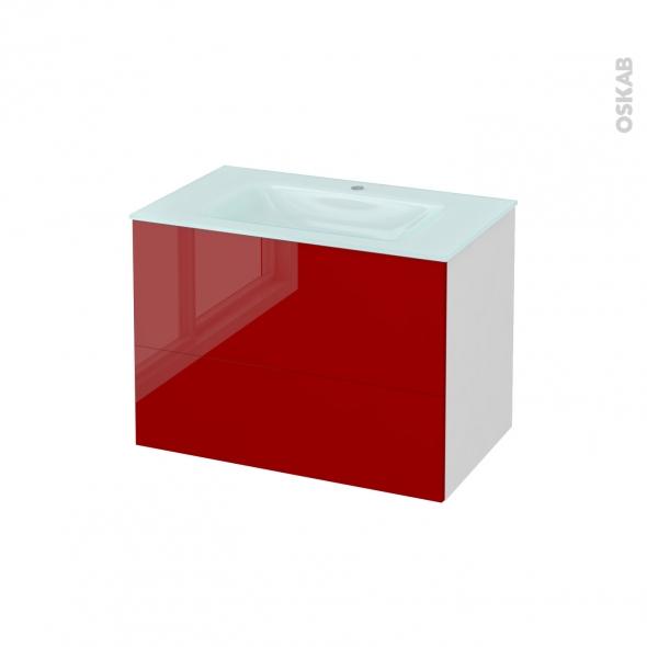 Meuble de salle de bains - Plan vasque EGEE - STECIA Rouge - 2 tiroirs - Côtés blancs - L80,5 x H58,2 x P50,5 cm