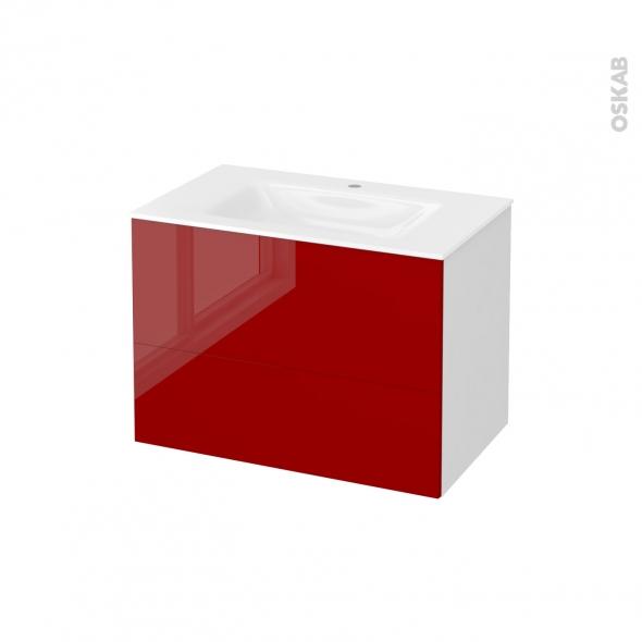 Meuble de salle de bains - Plan vasque VALA - STECIA Rouge - 2 tiroirs - Côtés blancs - L80,5 x H58,2 x P50,5 cm