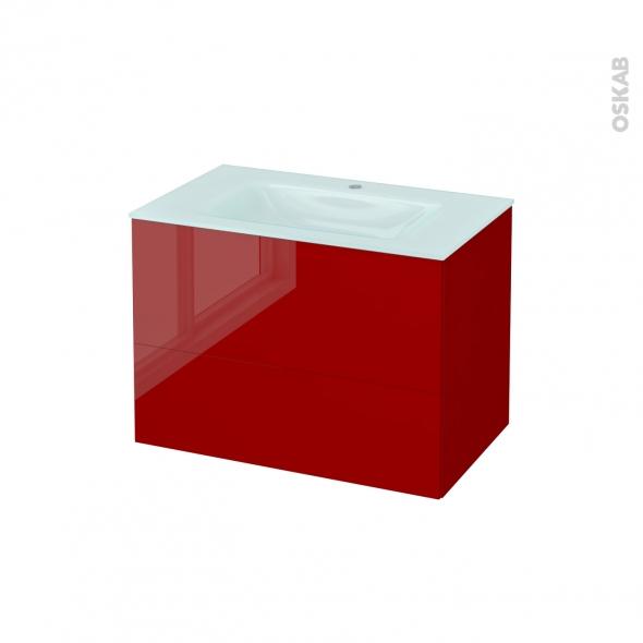 Meuble de salle de bains - Plan vasque EGEE - STECIA Rouge - 2 tiroirs - Côtés décors - L80,5 x H58,2 x P50,5 cm