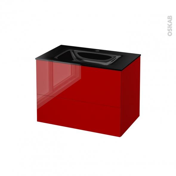 STECIA Rouge - Meuble salle de bains N°632 - Vasque OCCE - 2 tiroirs  - L80,5xH58,2xP50,5