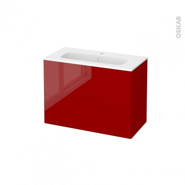 Meuble de salle de bains - Plan vasque REZO - STECIA Rouge - 2 tiroirs - Côtés décors - L80,5 x H58,5 x P40,5 cm