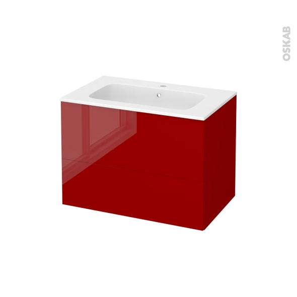 STECIA Rouge - Meuble salle de bains N°632 - Vasque REZO - 2 tiroirs  - L80,5xH58,5xP50,5