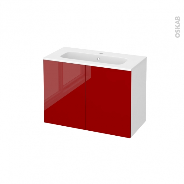 Meuble de salle de bains - Plan vasque REZO - STECIA Rouge - 2 portes - Côtés blancs - L80,5 x H58,5 x P40,5 cm