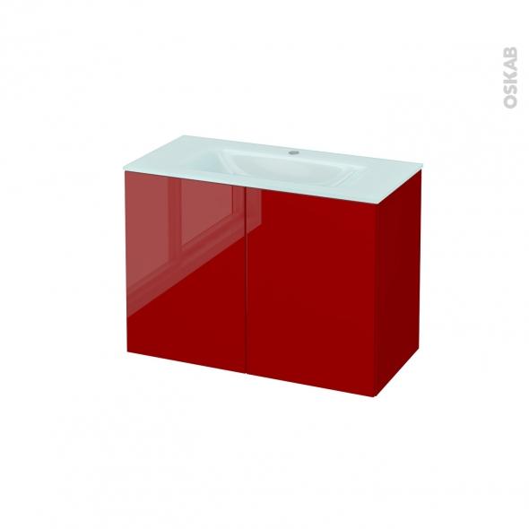Meuble de salle de bains - Plan vasque EGEE - STECIA Rouge - 2 portes - Côtés décors - L80,5 x H58,2 x P40,5 cm