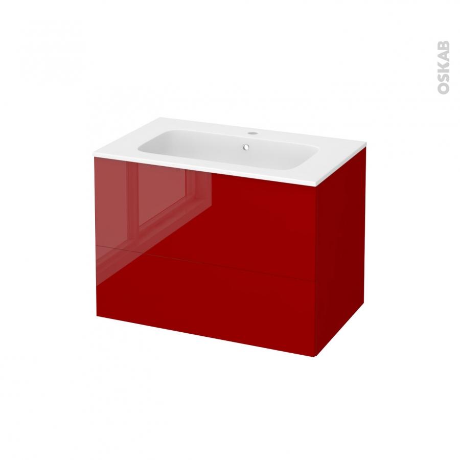 Meuble de salle de bains plan vasque rezo stecia rouge 2 for Meuble salle de bain rouge