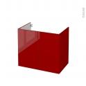STECIA Rouge - Meuble sous vasque N°702 - Côté décor - 2 portes - L80xH70xP50