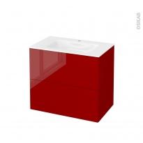 Meuble de salle de bains - Plan vasque VALA - STECIA Rouge - 2 tiroirs - Côtés décors - L80,5 x H71,2 x P50,5 cm