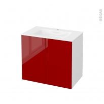 Meuble de salle de bains - Plan vasque VALA - STECIA Rouge - 2 portes - Côtés blancs - L80,5 x H71,2 x P50,5 cm