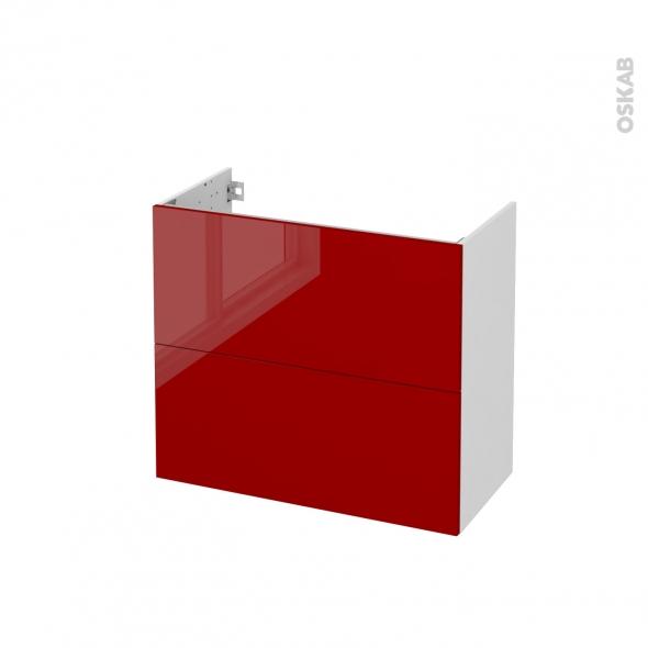 Meuble de salle de bains - Sous vasque - STECIA Rouge - 2 tiroirs - Côtés blancs - L80 x H70 x P40 cm