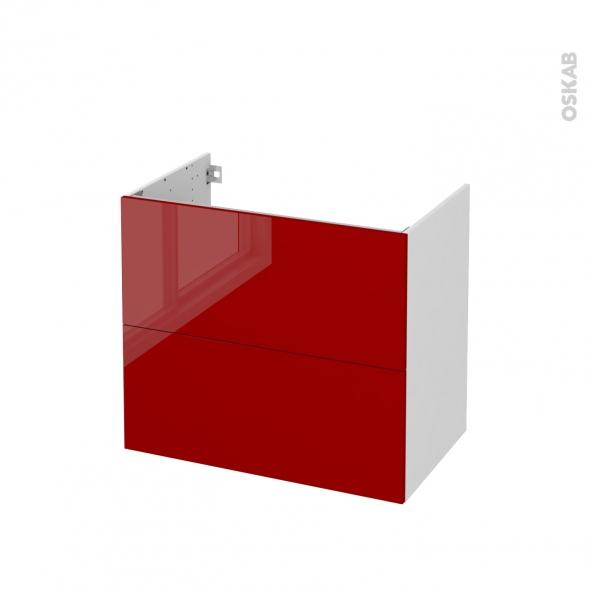 Meuble de salle de bains - Sous vasque - STECIA Rouge - 2 tiroirs - Côtés blancs - L80 x H70 x P50 cm
