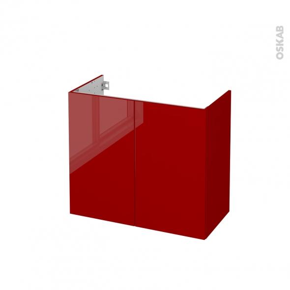 Meuble de salle de bains - Sous vasque - STECIA Rouge - 2 portes - Côtés décors - L80 x H70 x P40 cm