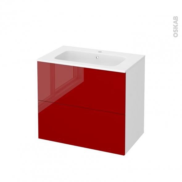 Meuble de salle de bains - Plan vasque REZO - STECIA Rouge - 2 tiroirs - Côtés blancs - L80,5 x H71,5 x P50,5 cm