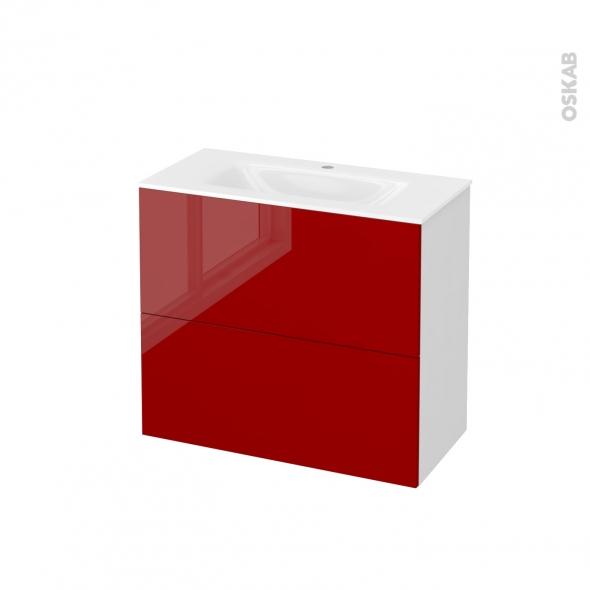Meuble de salle de bains - Plan vasque VALA - STECIA Rouge - 2 tiroirs - Côtés blancs - L80,5 x H71,2 x P40,5 cm
