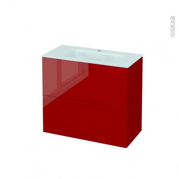 Meuble de salle de bains - Plan vasque EGEE - STECIA Rouge - 2 tiroirs - Côtés décors - L80,5 x H71,2 x P40,5 cm