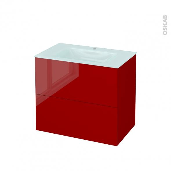 Meuble de salle de bains - Plan vasque EGEE - STECIA Rouge - 2 tiroirs - Côtés décors - L80,5 x H71,2 x P50,5 cm