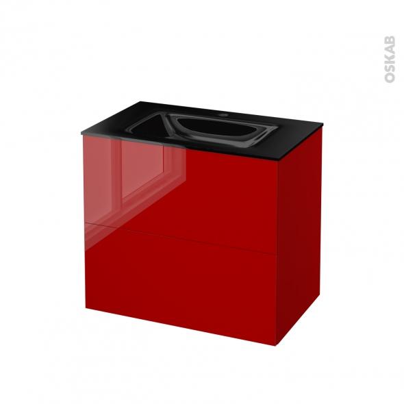STECIA Rouge - Meuble salle de bains N°602 - Vasque OCCE - 2 tiroirs  - L80,5xH71,2xP50,5