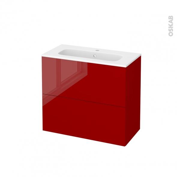 Meuble de salle de bains - Plan vasque REZO - STECIA Rouge - 2 tiroirs - Côtés décors - L80,5 x H71,5 x P40,5 cm