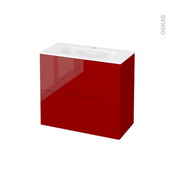 Meuble de salle de bains - Plan vasque VALA - STECIA Rouge - 2 tiroirs - Côtés décors - L80,5 x H71,2 x P40,5 cm